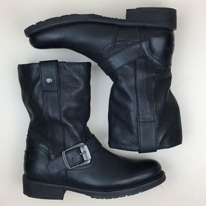 Harley Davidson Darice Black Leather Moto Boots
